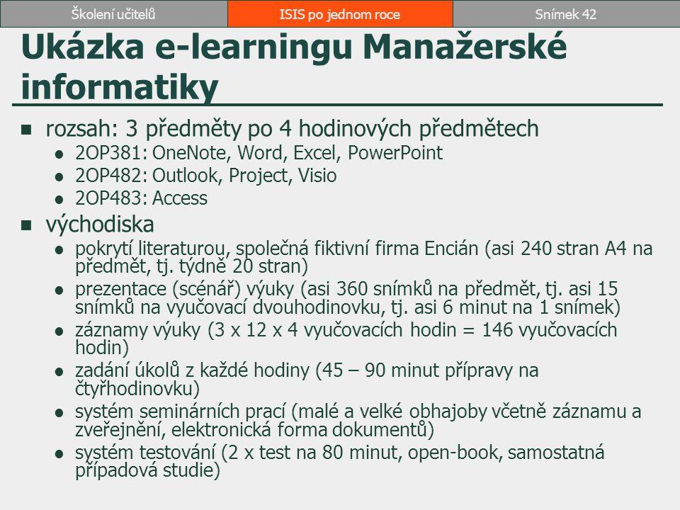 Ukázka e-learningu Manažerské informatiky