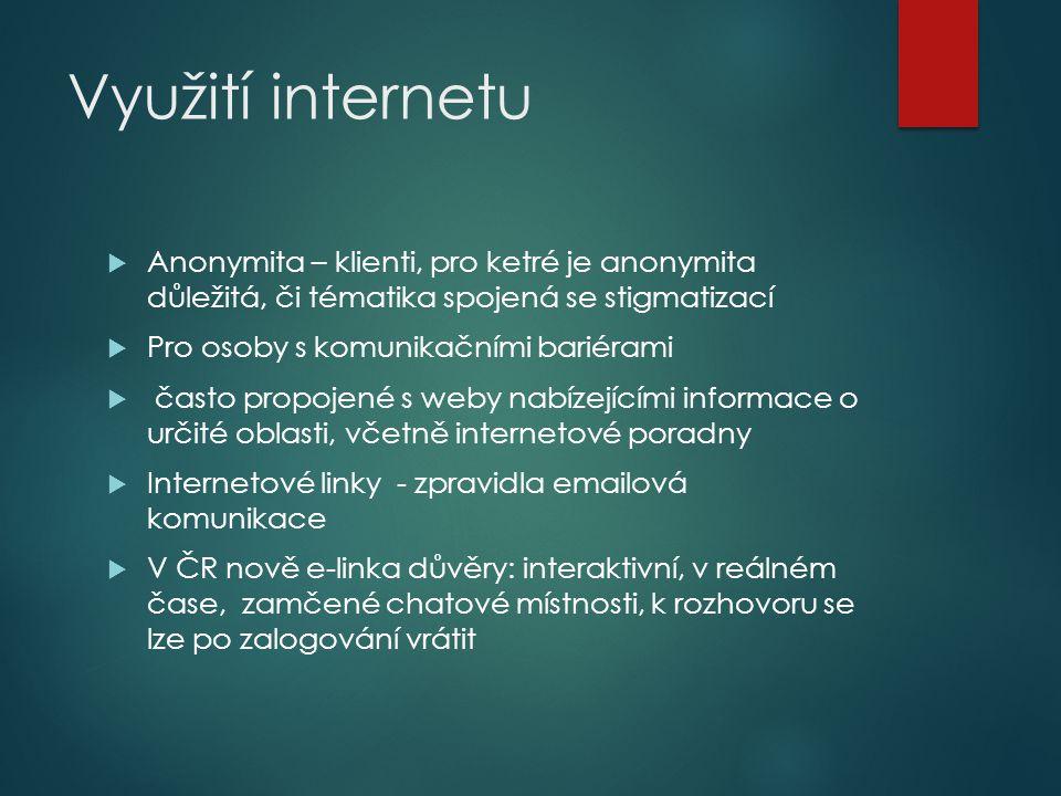 Využití internetu Anonymita – klienti, pro ketré je anonymita důležitá, či tématika spojená se stigmatizací.