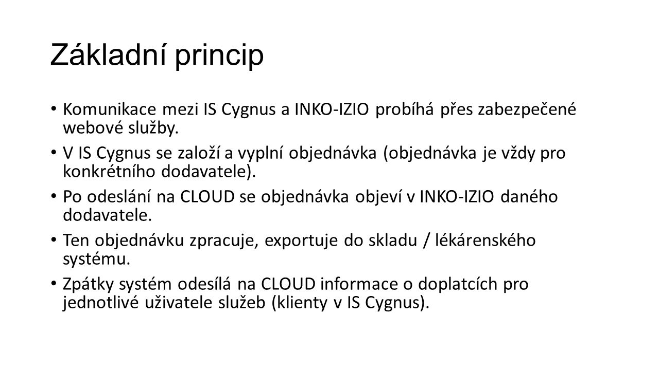 Základní princip Komunikace mezi IS Cygnus a INKO-IZIO probíhá přes zabezpečené webové služby.