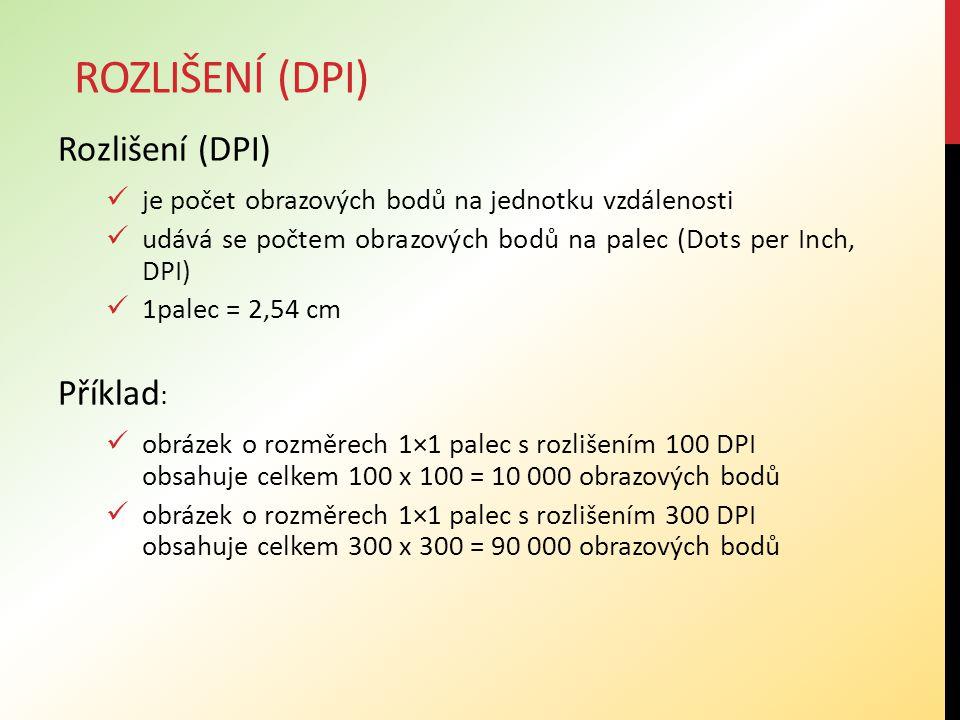 Rozlišení (dpi) Rozlišení (DPI) Příklad: