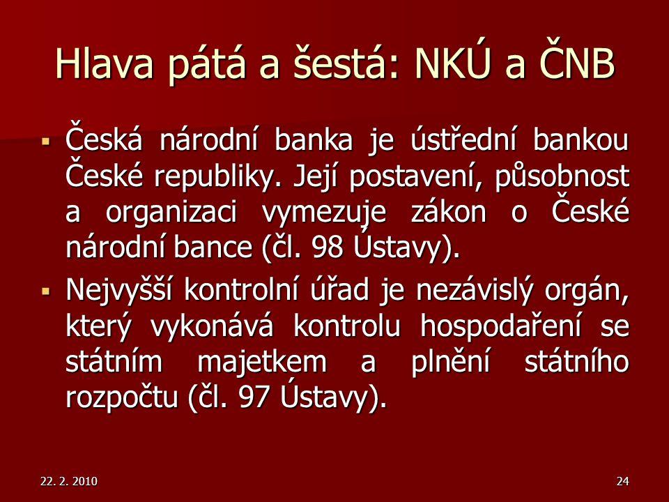 Hlava pátá a šestá: NKÚ a ČNB