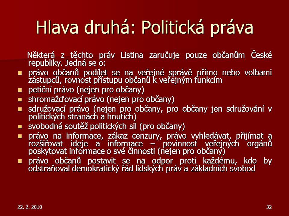 Hlava druhá: Politická práva