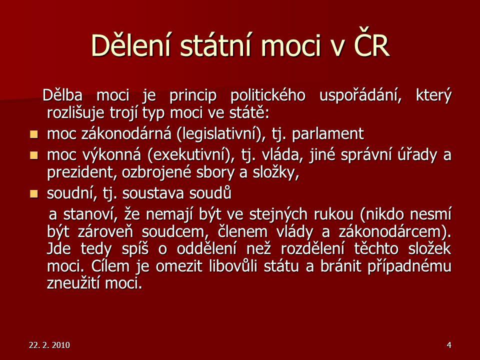 Dělení státní moci v ČR Dělba moci je princip politického uspořádání, který rozlišuje trojí typ moci ve státě: