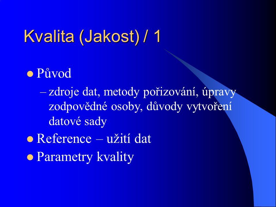 Kvalita (Jakost) / 1 Původ Reference – užití dat Parametry kvality