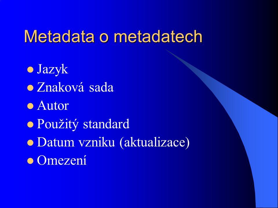 Metadata o metadatech Jazyk Znaková sada Autor Použitý standard