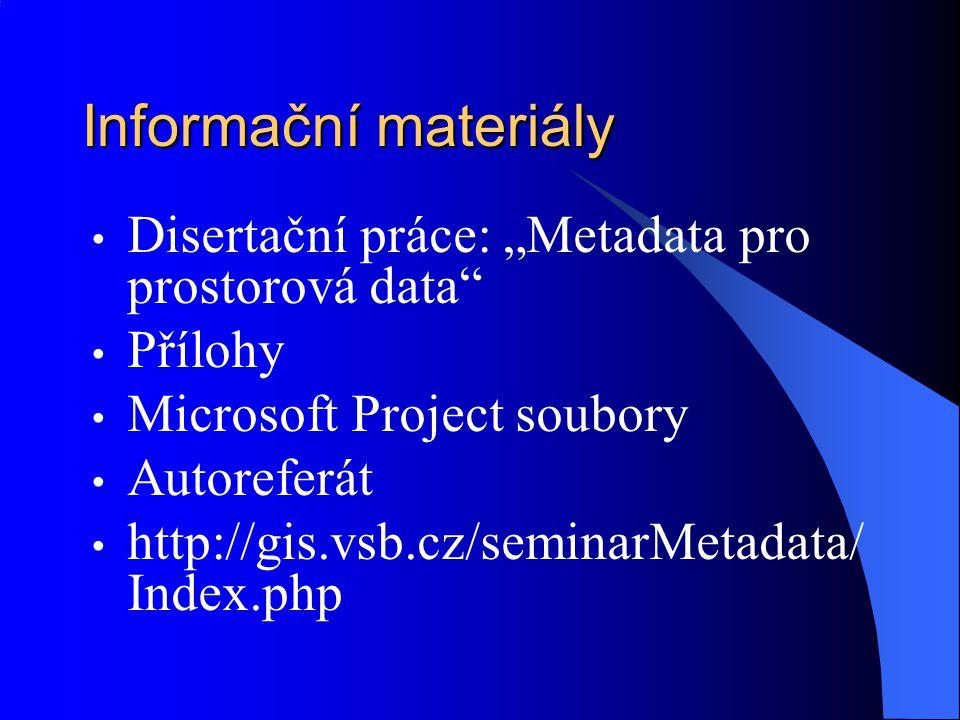 """Informační materiály Disertační práce: """"Metadata pro prostorová data"""