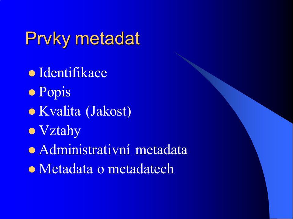 Prvky metadat Identifikace Popis Kvalita (Jakost) Vztahy
