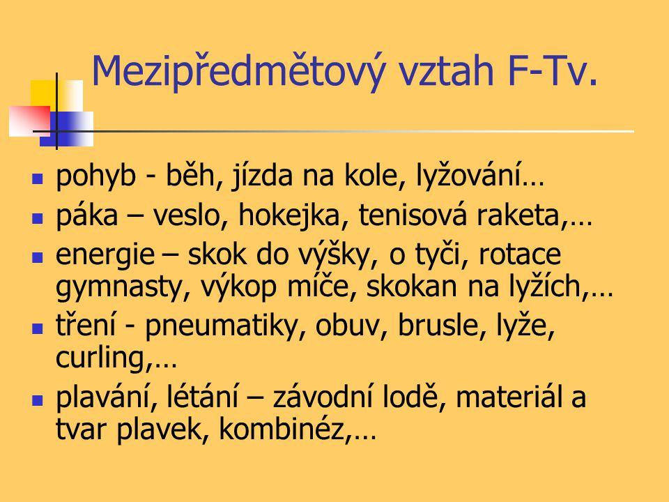 Mezipředmětový vztah F-Tv.