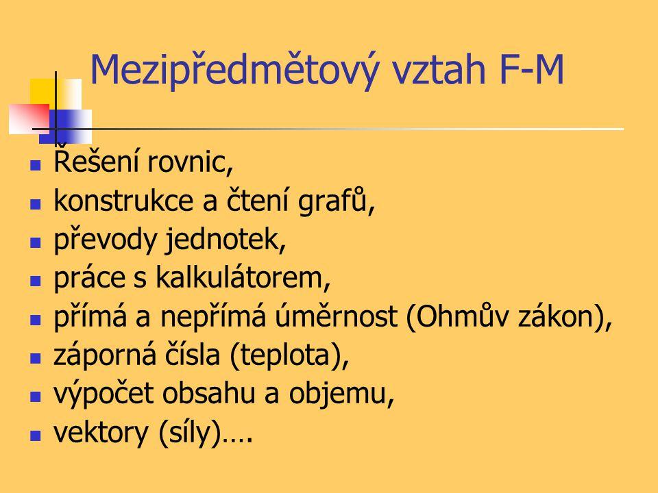 Mezipředmětový vztah F-M