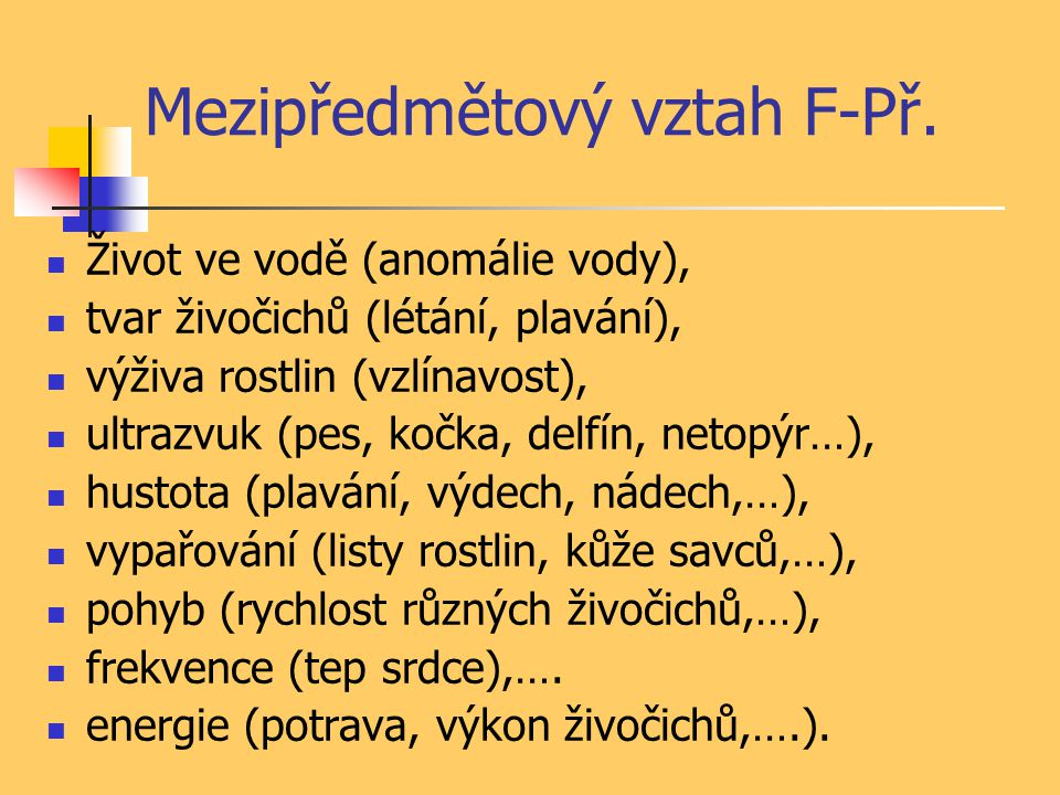 Mezipředmětový vztah F-Př.