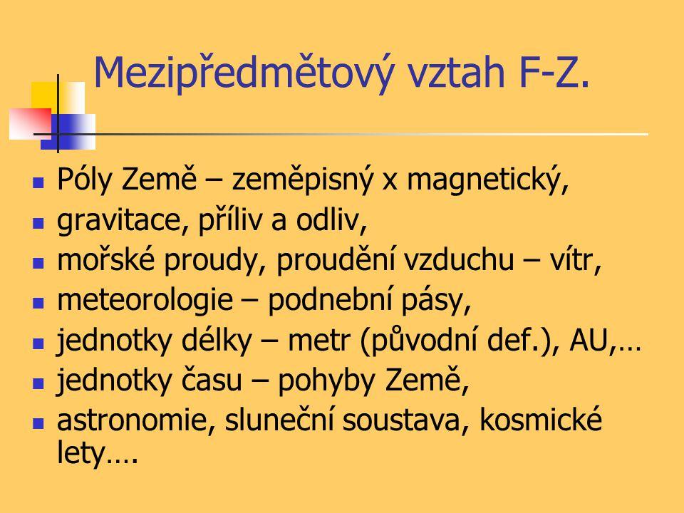 Mezipředmětový vztah F-Z.
