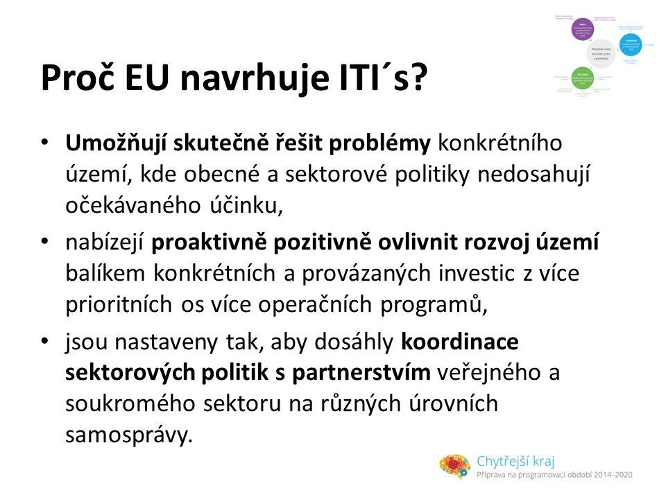 Proč EU navrhuje ITI´s Umožňují skutečně řešit problémy konkrétního území, kde obecné a sektorové politiky nedosahují očekávaného účinku,