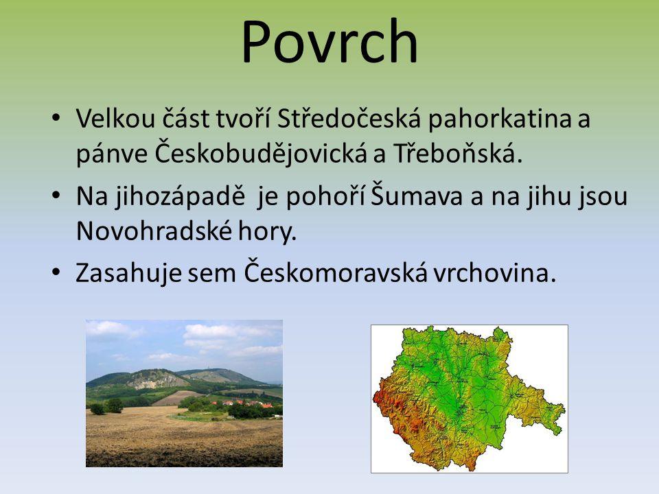 Povrch Velkou část tvoří Středočeská pahorkatina a pánve Českobudějovická a Třeboňská.