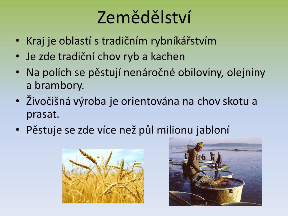 Zemědělství Kraj je oblastí s tradičním rybníkářstvím