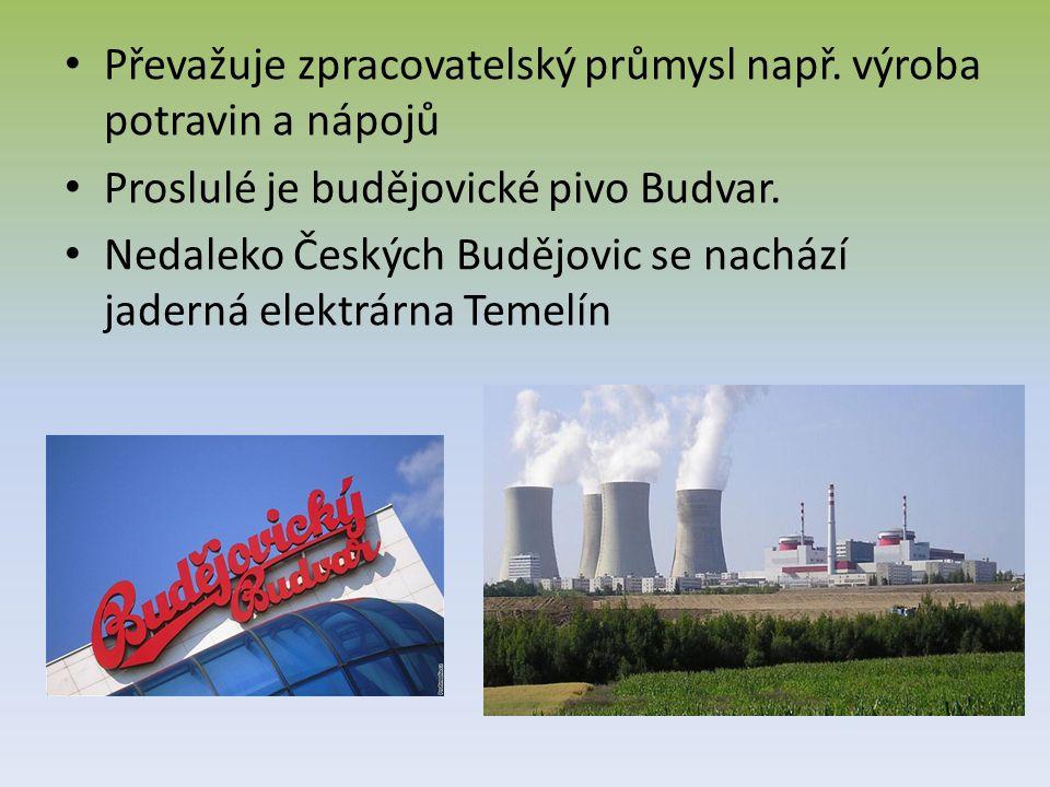 Převažuje zpracovatelský průmysl např. výroba potravin a nápojů