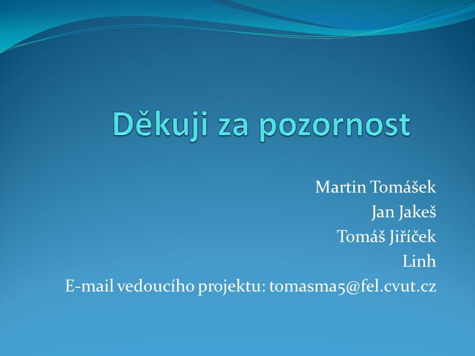 Děkuji za pozornost Martin Tomášek Jan Jakeš Tomáš Jiříček Linh