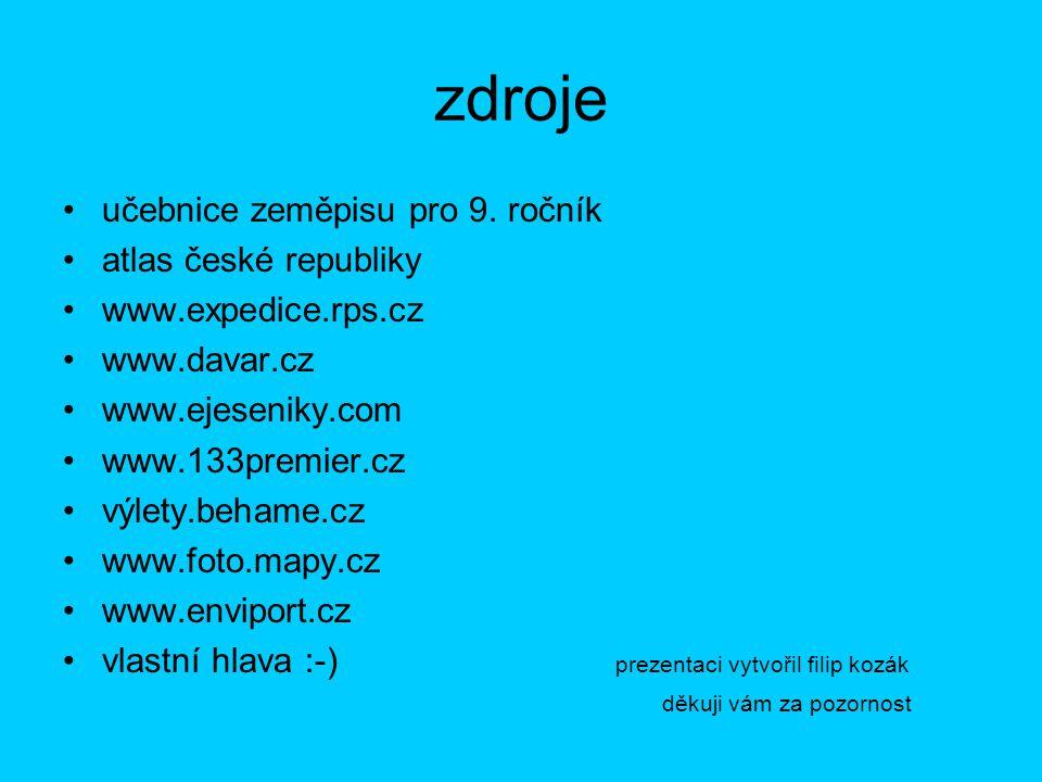 zdroje učebnice zeměpisu pro 9. ročník atlas české republiky
