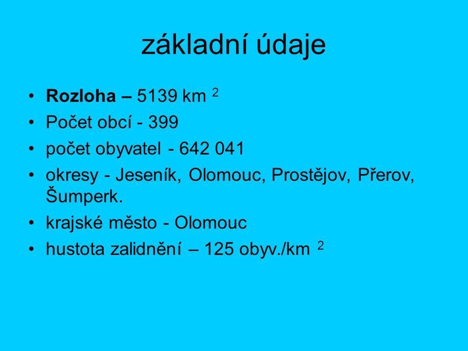 základní údaje Rozloha – 5139 km 2 Počet obcí - 399