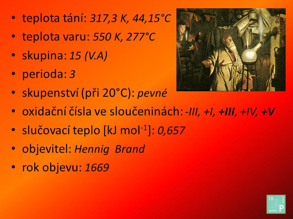teplota tání: 317,3 K, 44,15°C teplota varu: 550 K, 277°C. skupina: 15 (V.A) perioda: 3. skupenství (při 20°C): pevné.
