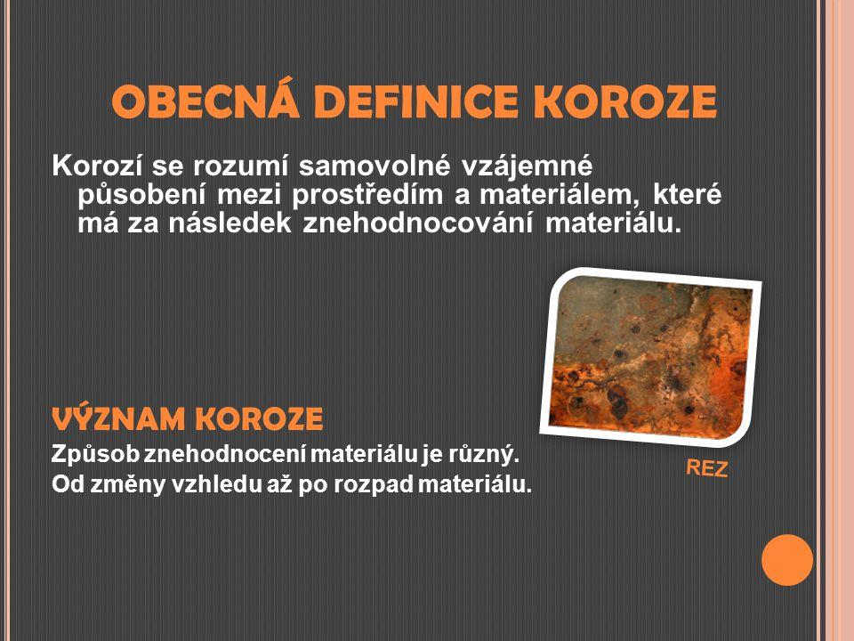 OBECNÁ DEFINICE KOROZE