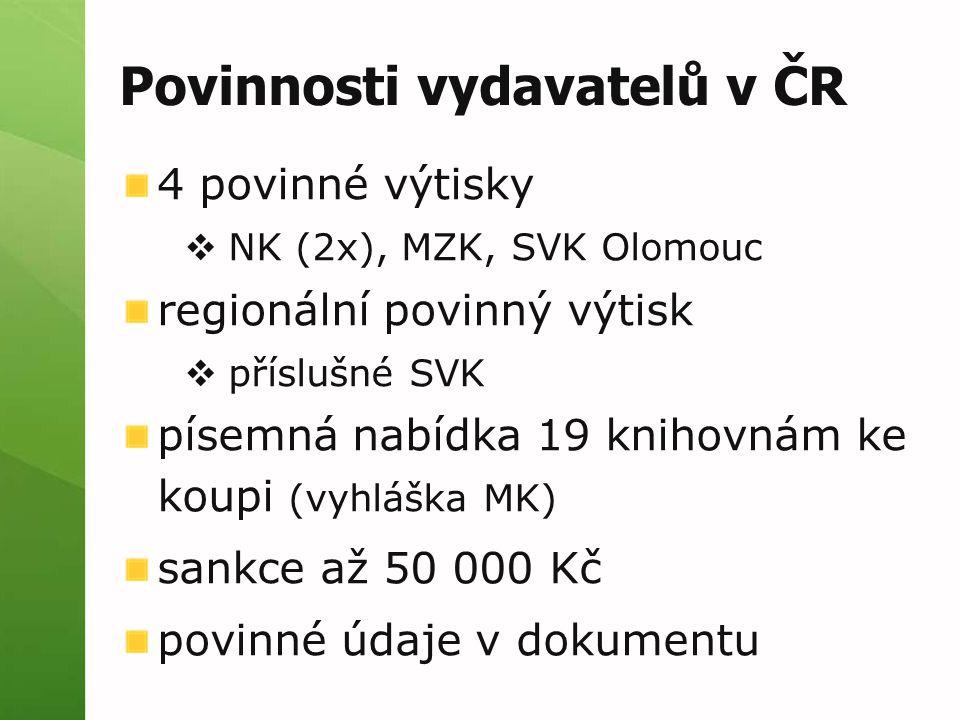 Povinnosti vydavatelů v ČR