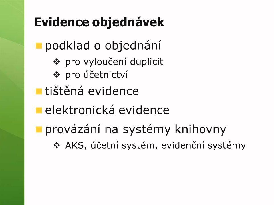 Evidence objednávek podklad o objednání tištěná evidence