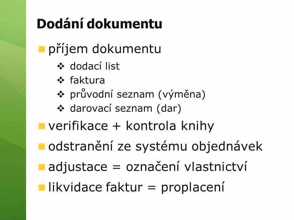 Dodání dokumentu příjem dokumentu verifikace + kontrola knihy