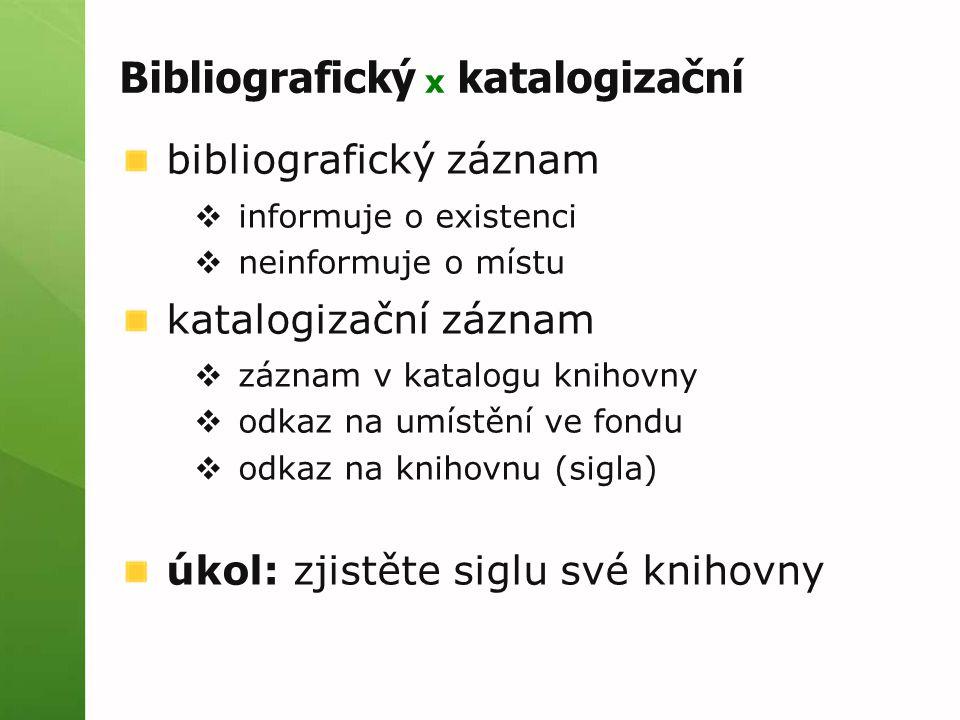Bibliografický x katalogizační