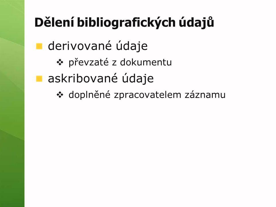 Dělení bibliografických údajů