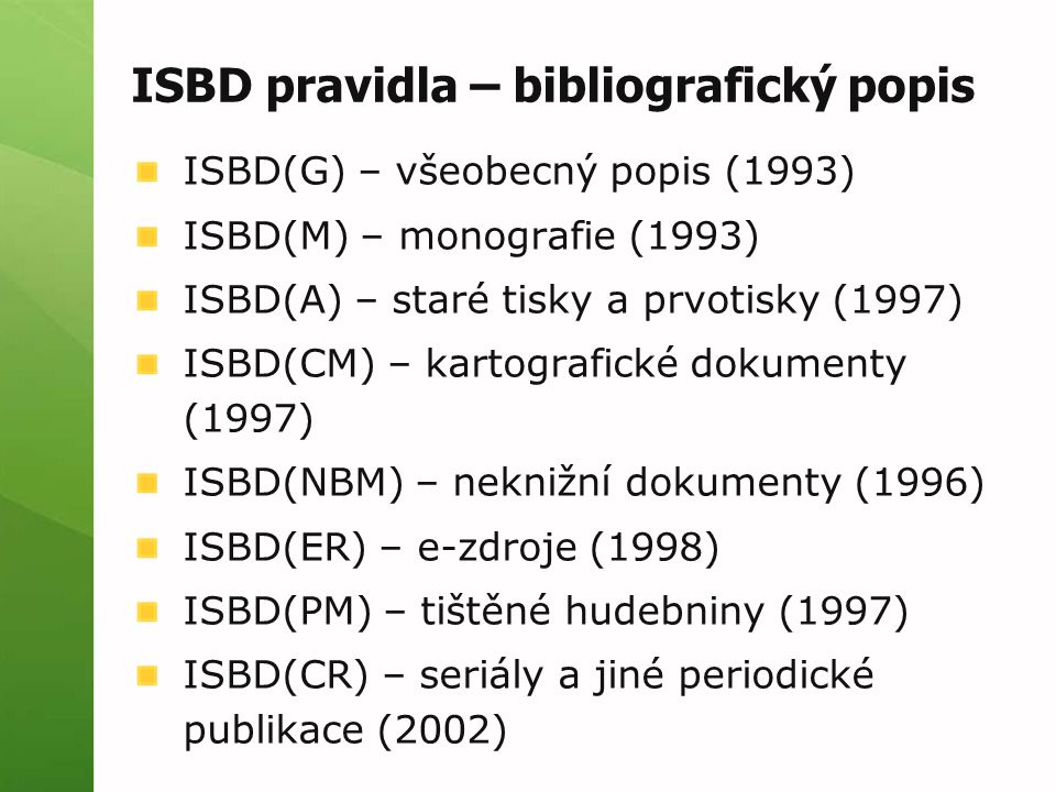 ISBD pravidla – bibliografický popis