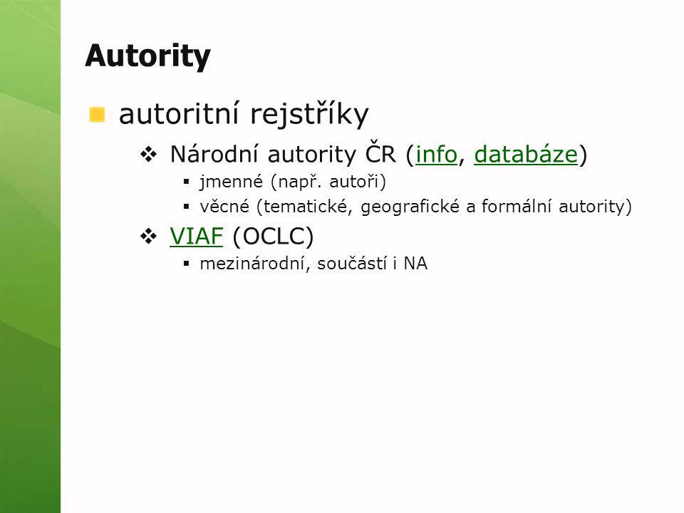 Autority autoritní rejstříky Národní autority ČR (info, databáze)