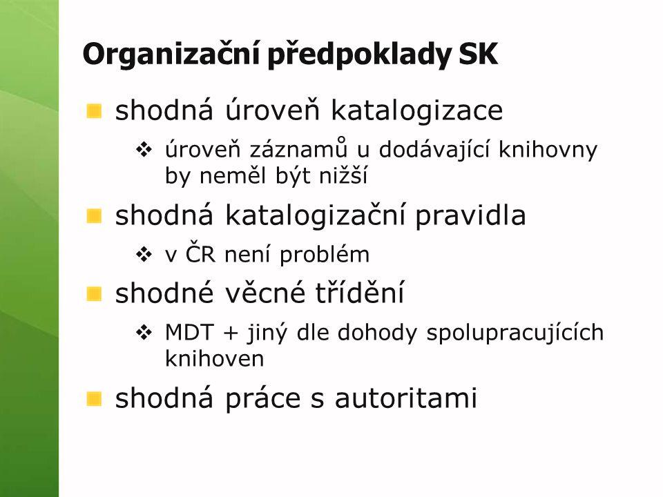 Organizační předpoklady SK