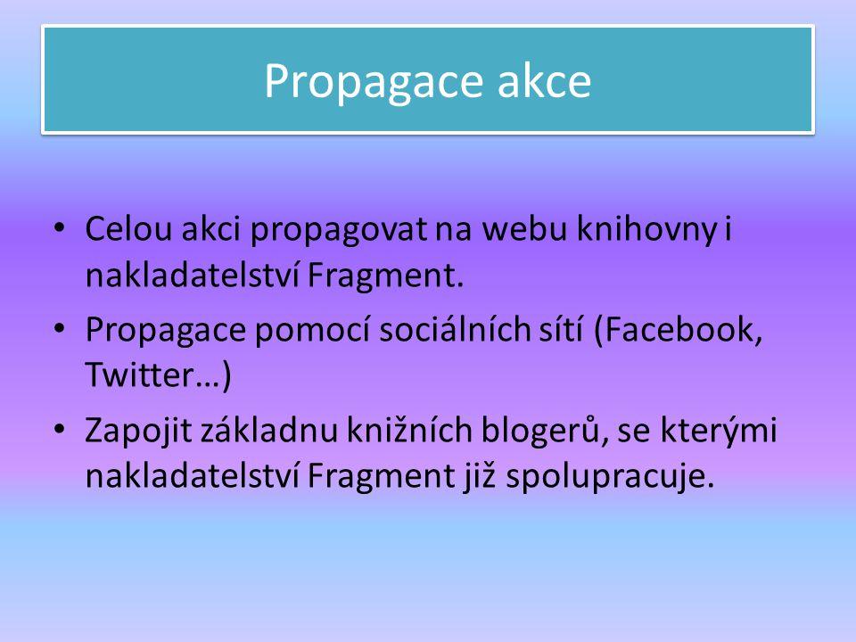 Propagace akce Celou akci propagovat na webu knihovny i nakladatelství Fragment. Propagace pomocí sociálních sítí (Facebook, Twitter…)