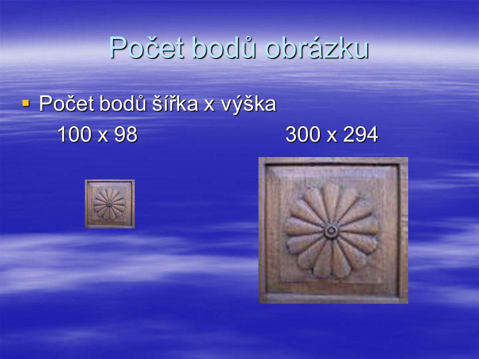 Počet bodů obrázku Počet bodů šířka x výška 100 x 98 300 x 294
