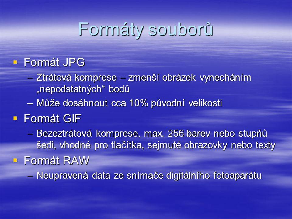 Formáty souborů Formát JPG Formát GIF Formát RAW