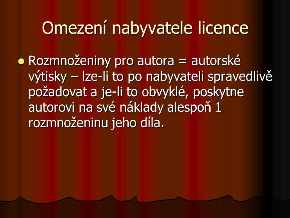 Omezení nabyvatele licence