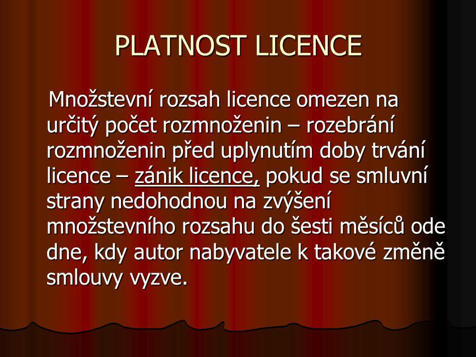 PLATNOST LICENCE