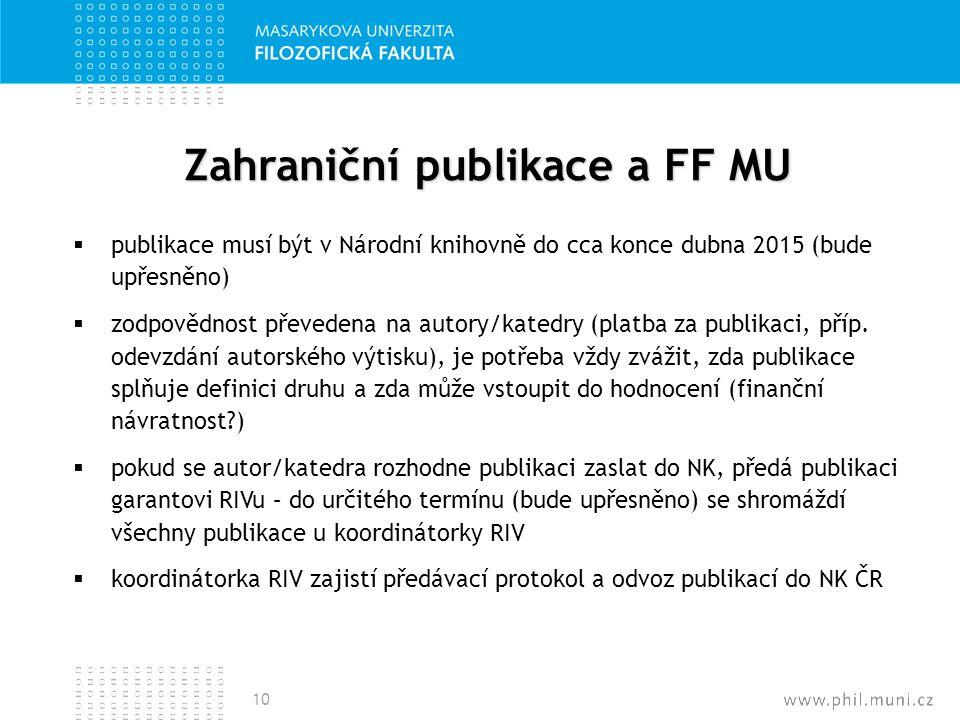 Zahraniční publikace a FF MU