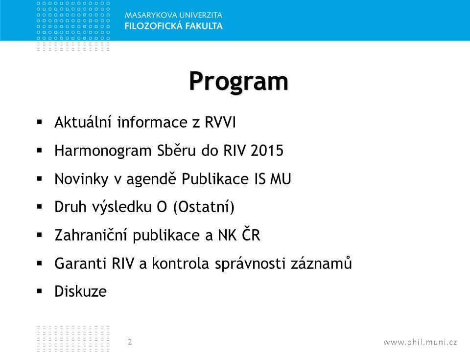 Program Aktuální informace z RVVI Harmonogram Sběru do RIV 2015
