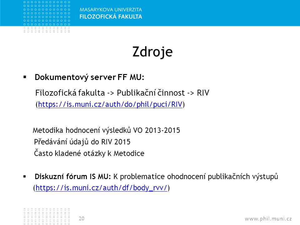 Zdroje Dokumentový server FF MU: