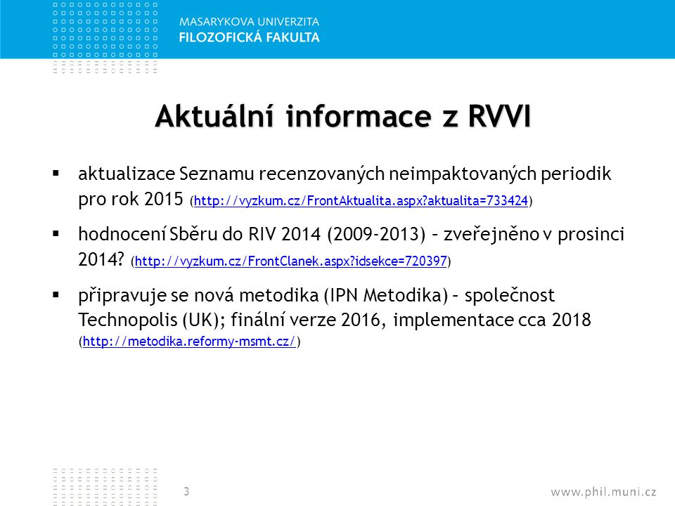 Aktuální informace z RVVI