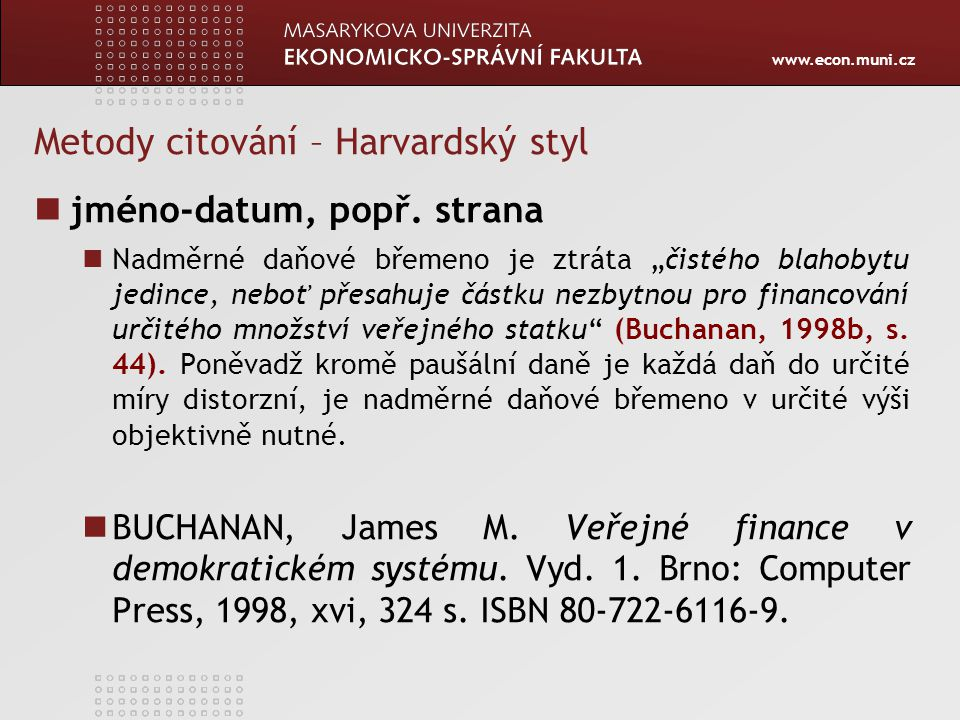 Metody citování – Harvardský styl