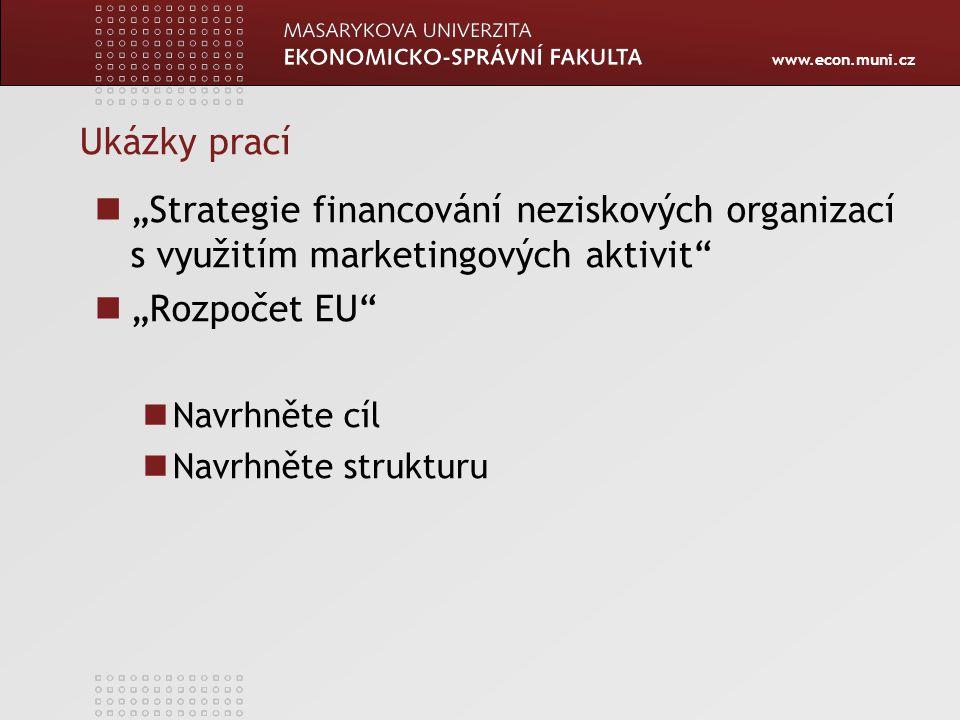 """Ukázky prací """"Strategie financování neziskových organizací s využitím marketingových aktivit """"Rozpočet EU"""