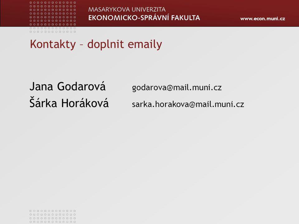 Kontakty – doplnit emaily