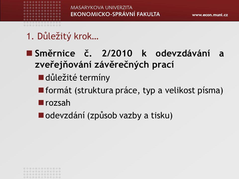 Směrnice č. 2/2010 k odevzdávání a zveřejňování závěrečných prací