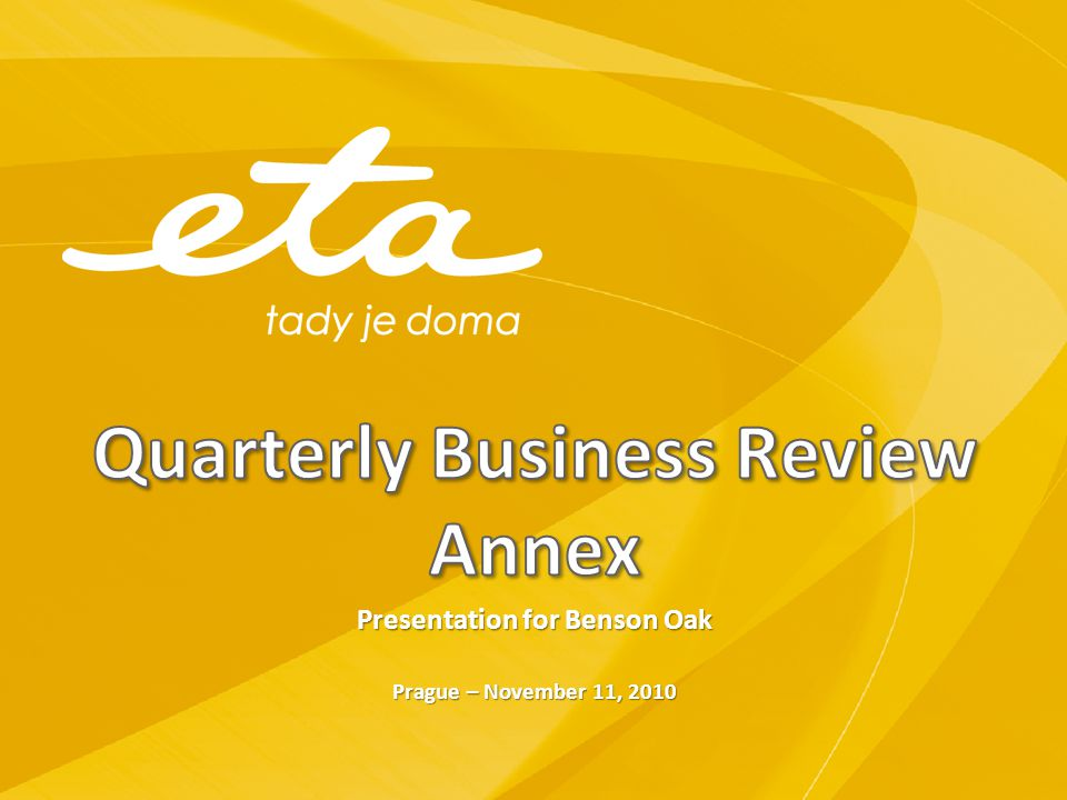 Quarterly Business Review Annex