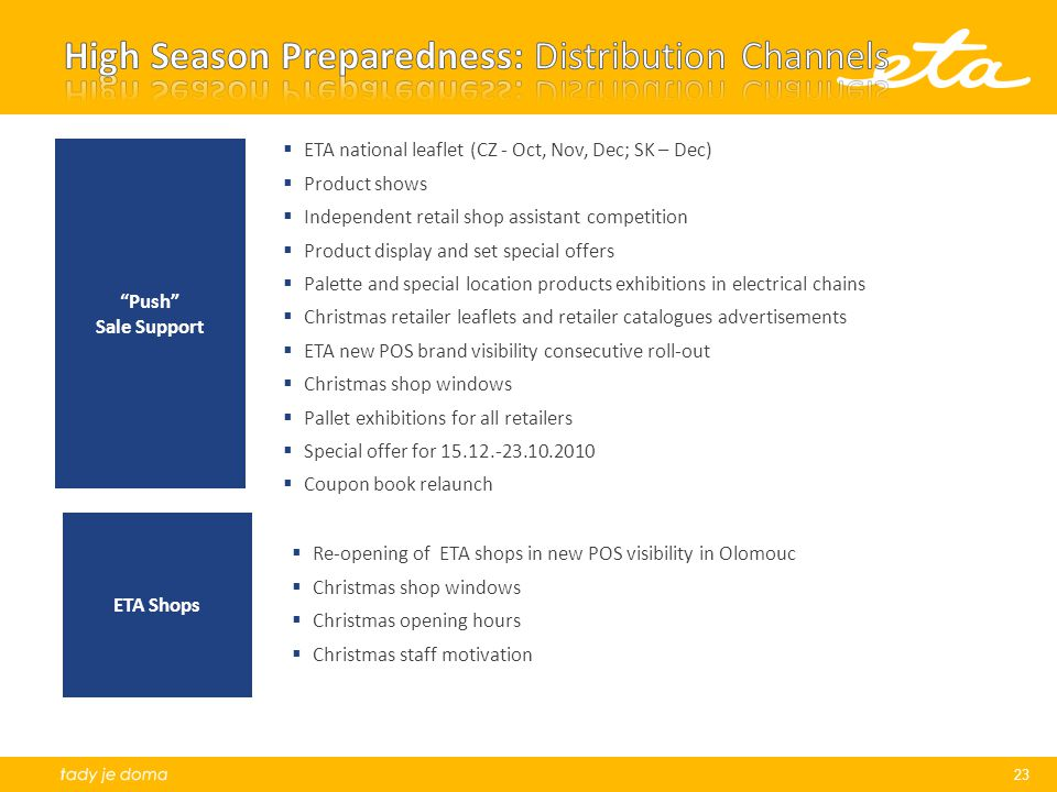 High Season Preparedness: Distribution Channels
