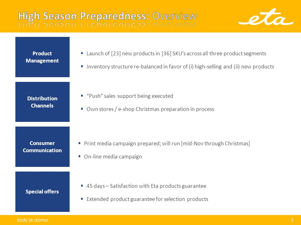 High Season Preparedness: Overview