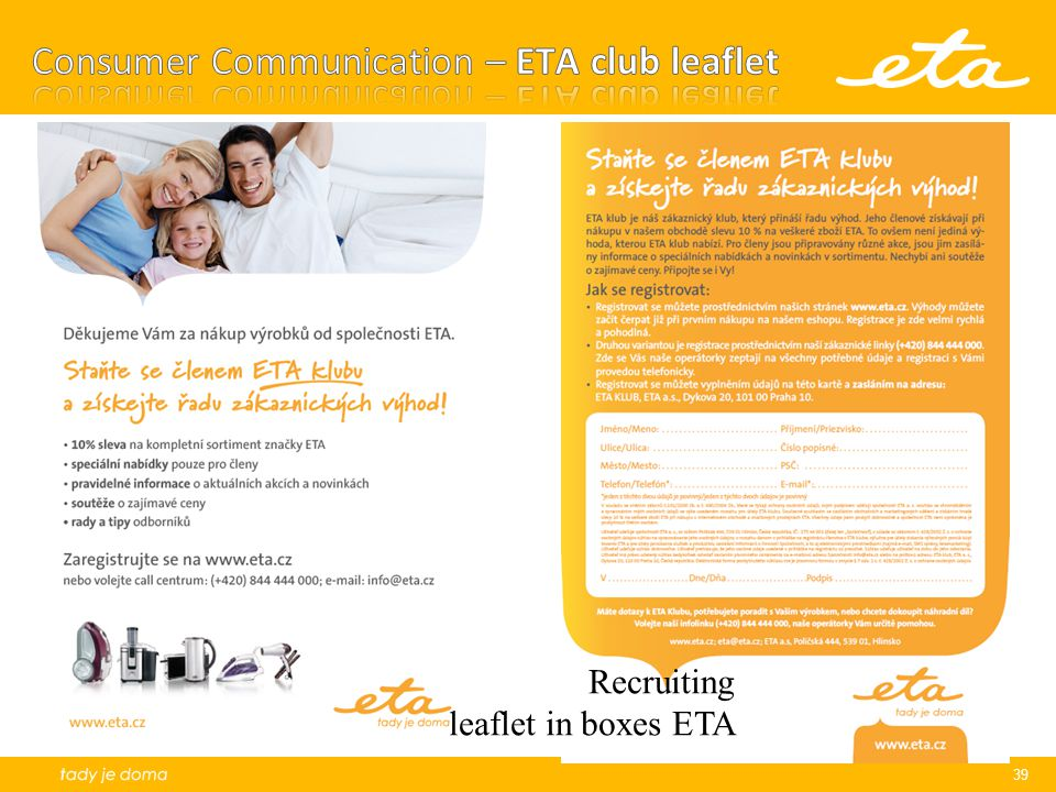 Consumer Communication – ETA club leaflet