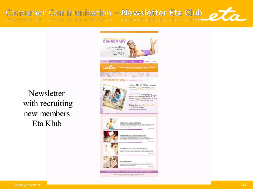 Consumer Communication – Newsletter Eta Club